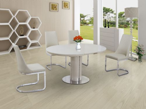 ECLIPSE Round / Oval Gloss & Glass Extending 110 to 145 cm Dining Table - CREAM